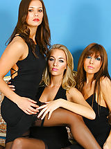 Lesbians Pics: 3 gorgeous girls give us a delightful treat in sexy black evening dresses