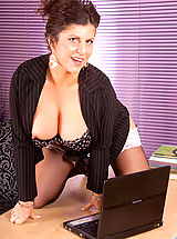 Secretary Babes: Sultry milf Secretary strips off her office attire and spreads her hot mature snatch