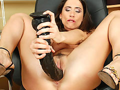 Pepper fucks thick dildo