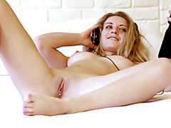 Hairy Vagina videos, Adorable slender cutie with incredible tits spreading legs on the bed in this xxx video.
