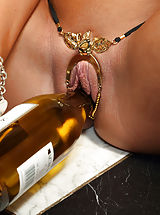 bikini, August Ames Inserts Wine Bottle and Distorts Pussy