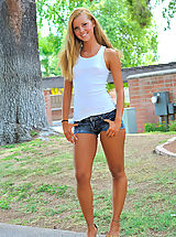 Jessi the blonde girl takes off her blue panties