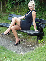 Hot Babes, Michelle Manzer loves getting her sexy body and vintage nyloned legs out and about, flashing at her local park for the pleasure of onlookers...