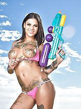 Bonnie Rotten Hot Wife reveals her bare cans, draws down her under garments and spreads her thighs and stimulates her tight-fitting labia