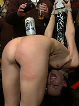 Outdoor Babes: Hot girl gets tied up and exposed at a bar where patrons cover her in beer and spit before watching her get fucked hard!