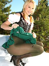 Pantyhose Pussy: Joceline looking stunning in fraulein outfit with boots and pantyhose.
