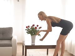Super hot European Nancy A is seduced with rose petals and a pussy feast into a hardcore stiffie ride in her horny twat