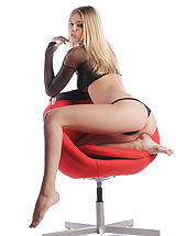 X-Art Pics: Aria strips out of her mesh panties and straddles your office chair. State hello for your brand new secretary!