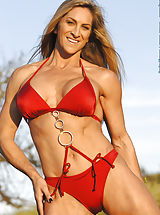 Blonde Babes, Cynthia Daniels, Red Suit and Chains