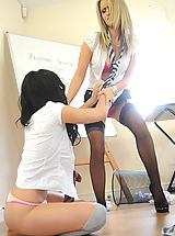 Secretaries in High Heels Candice Collyer and Kayleigh Williams in October 2011
