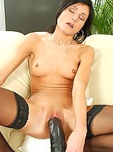 Sex Toy Babes: Long brutal dildo fucking