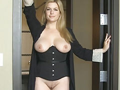 Sexy Babes, Naked Wife Danielle Cum Hither shows her uncovered fun bags, draws down her under garments and opens her thighs and masturbates her tight-fitting slit