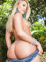 AJ Applegate Sizzling Lady reveals her bare breasts, pulls down her lingerie and spreads her thighs and diddles her wet cunt