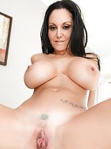Hot Babes, Bill Bailey, Ava Addams Sinful Slut exposes her bare tits, draws down her under garments and spreads her limbs and diddles her tight-fitting pussy