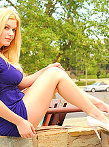 High.Heels Pics: Danielle outdoors getting her tits down and panties dropping