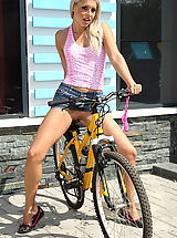 UpSkirts Babes: brandy smile 02 bicycle strip big pussy pics