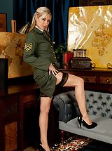 Golden-haired milf Sophie Kaye unclothes off sexy army uniform.