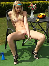 samantha heat 01 outdoor shaved pussy inserts cucumber and banana