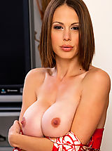 Hard Nipple Babes: Hot brunette MILF loves to swallow cock and take a good fucking.