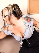 Secretary Pussy: Shay Morgan is a sexy naughty teacher that will teach Dane Cross a lesson by making him fuck her