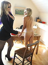 Lesbians Pics: Secretaries in High Heels Amy Green and  Ass Spanked in April 2011