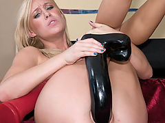 Stunners, Allison fucks long black dildo