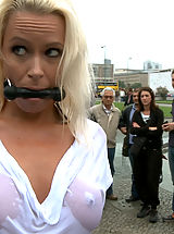 Outdoor Babes: Steve Holmes ties up and fucks a hot German Milf in the streets of Europe