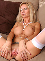 Wet Snatch, Beautiful blonde Anilos lady shows off her big breasts and juicy milf pussy