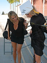 Kelly Madison and Ryan took care of Aurora Snow on her graduation day, they fucked her choked her and gave her a mouthful of jiz.