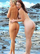 Naked Babe, Lena and Melody Beach Bunnies